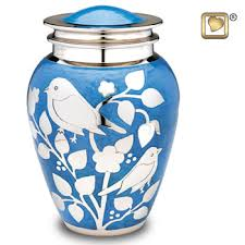 Blessing birds silver cremation urns