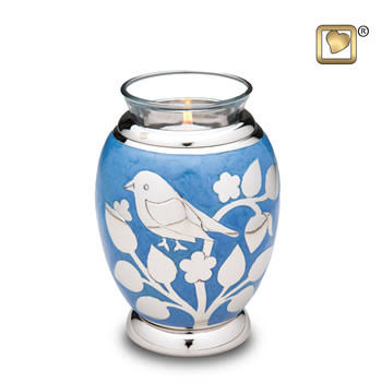 Silever blessing birds tealight cremation urn