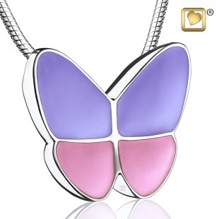 Sterling Silver Wings of Hope Lavender Butterfly Cremation Jewelry for Ashes - Pendant