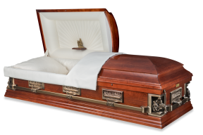Pieta Casket Open Solid Antique Cherry $4995